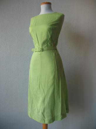 50s 60s Vintage Day Dress New Old Stock Green Belted Summer L XL