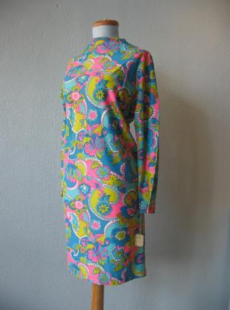 Vintage 60s Mini Dress Mod Psychedelic Print New Old Stock Jersey M