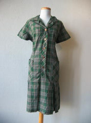 60s Day Dress Vintage Plaid New Old Stock Cotton Pleated Dropwaist XL