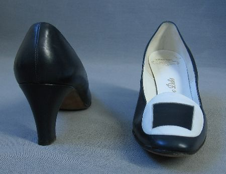 MOD Heels 60s Vintage 9N Pilgrim Style Shoes Blue and White