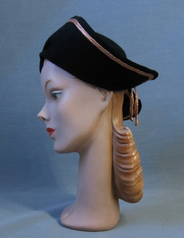 40s Vintage Hat Halo Cloche Felt Coppery Trim 1940s