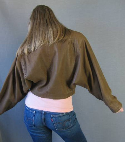 Dior Edgy 80s Vintage Brown Leather Cropped Jacket L