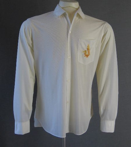 60s Semisheer Shirt Embroidered Dragon Vintage Saigon S M Vietnam