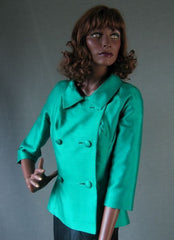 Green Silk Shantung 50s Vintage Fitted Jacket M