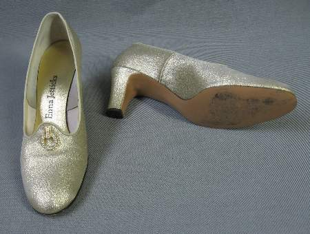 Vintage 60s Pumps Heels Shoes Gold Lame Rhinestone 7.5