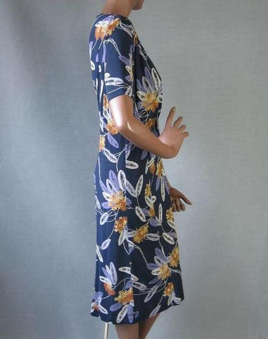 40s 50s Novelty Print Dress Vintage Swing Feathers  XL