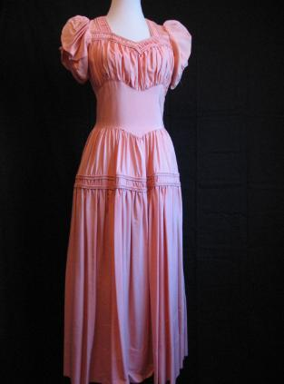 40s vintage taffeta modest evening dress