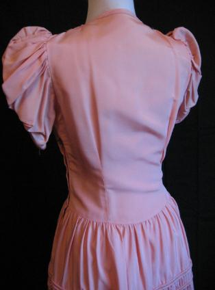 30s 40s Vintage Long Formal Prom Dress Pink Tiered Details S