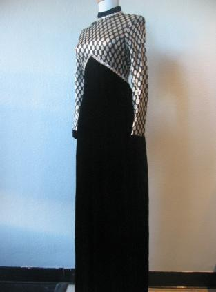 70s Empire Long Dress Black Velvet Silver Sparkle Dot Vintage S XS