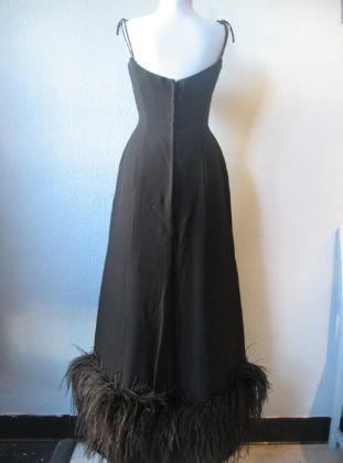 Vintage 50s 60s Black Long Formal Dress Ostrich Feather Trim S