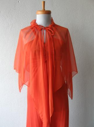 Vintage 70s Dress Disco 30s Style Orange Jersey Long S XS Chiffon Cape