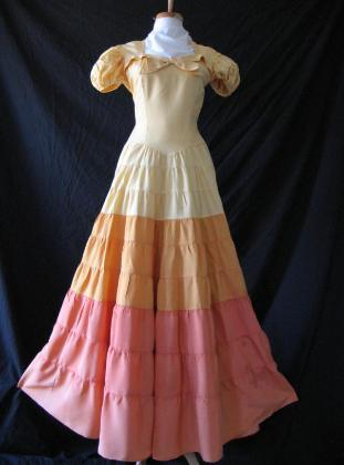 Vintage 30s 40s Sunset Ombre Tiered Full Skirt Long Dress S XS
