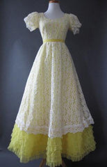 Vintage 60s Formal Prom Dress GWTW Daisy LACE New Old Stock Yellow S