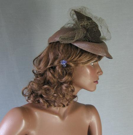 vintage veiled 40s doll hat