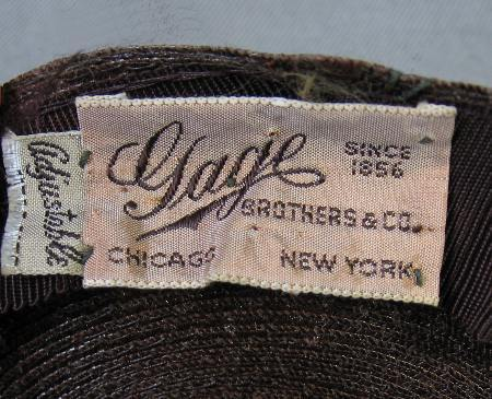 vintage 1940s Gage hat label