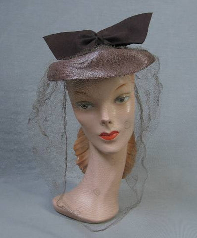 40s Tilt Hat Vintage 1940s Cap Doll Winged Bow