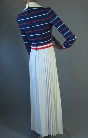 70s Vintage PREPPY Patriotic Red White Blue Maxidress Dress S