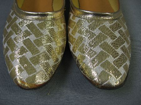 70s 80s Vintage Gold Lame Lattice Ballerina Shoes Flats 8.5