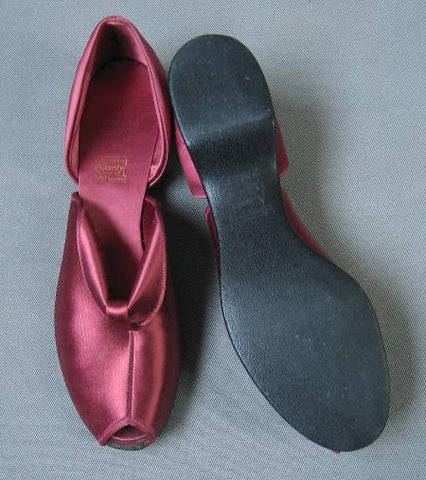 Vintage 40s 50s  Daniel Green Wedge Slippers New Old Stock Peeptoe Pink Satin 7.5 8 N