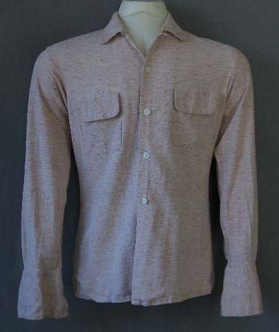 50s Silk Shirt Vintage Long Sleeve Hagoromo Japan Collar Loop S