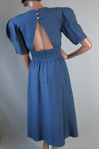 Hanae Mori 80s Vintage Silk Dress Origami Sleeves XS S