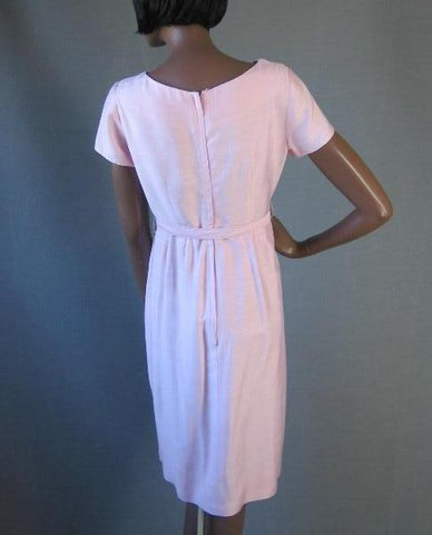 50s 60s Pink Dress Vintage Office to Cocktail Embellished M/L