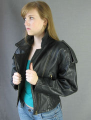 North Beach Leather 80s Motorcycle Jacket Black Vintage S M