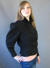 Hoban North Beach Black Suede 80s Vintage Military Style Jacket M