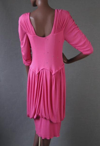 Holly Harp PINK Dress 70s 80s Vintage Draped and Ruched