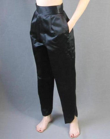 60s Asian Hostess Pajamas Vintage Qipao Top Pants Satin M L