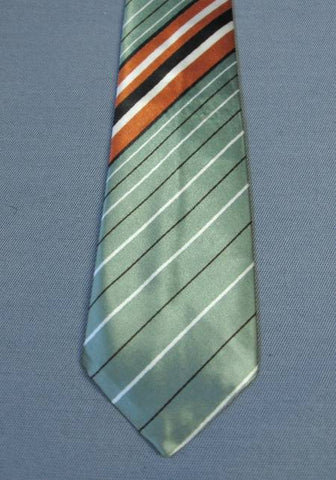 Vintage 50s Ice Green Diagonal Striped Neck Tie