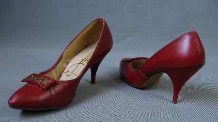 50s 60s Vintage Red Stiletto High Heels Shoes 8.5