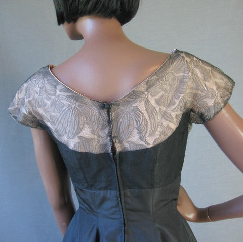 sophisticated vintage black lace and taffeta dress
