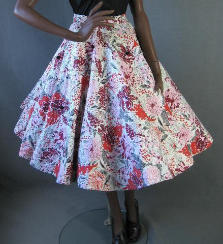 1950s vintage quilted full skirt