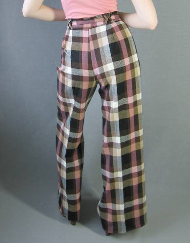 70s Plaid Pants Vintage Wide Leg Elephant Bell Pink High Waist