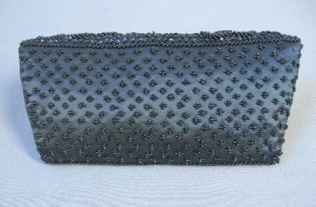 60s Vintage Fully Beaded Black Satin Clutch Purse Handbag