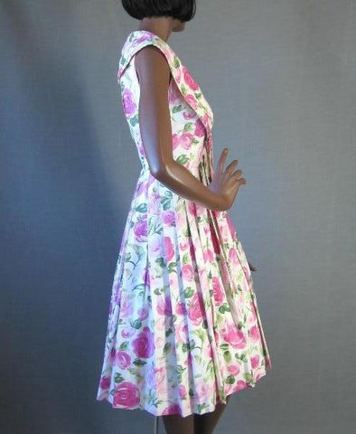50s Full Skirt Sun Dress Vintage Roses Print Sailor Collar