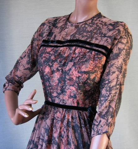 vintage 1950s abstract crackle print chiffon party dress