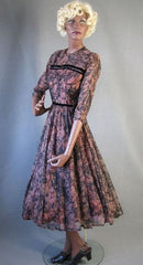 1950s vintage full skirt chiffon cocktail dress