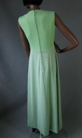 70s Long Maxi Dress and Cropped Jacket Sparkly Vintage Green Lurex S M