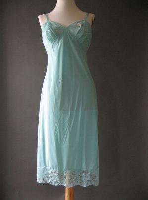 ec78c1b368b 60s Vintage Slip Vanity Fair Aqua Lace New Old Stock S 34