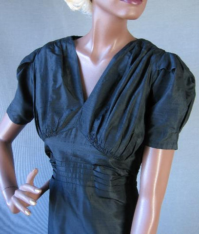 vintage 1930s puff sleeve formal dress