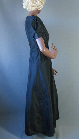 30s Vintage Puff Sleeve Long Formal Dress Party Prom M/L