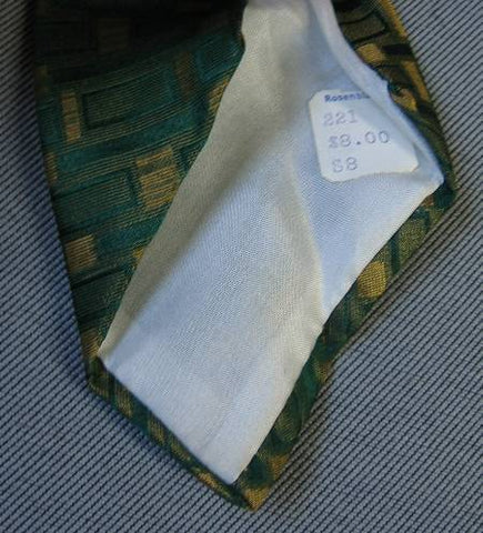 Countess Mara Neck Tie Vintage 60s Green Yellow Sharkskin O