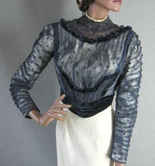 Antique Vintage Edwardian c.1905 Velvet Lace Formal Bodice XS