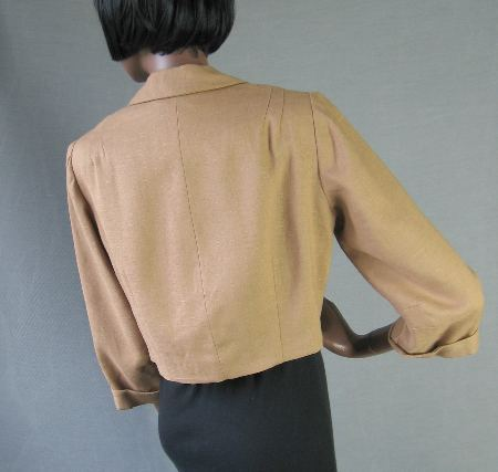50s Vintage Cropped Suit Coat Jacket Couture Quality L