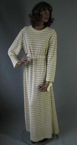 70s Maxi Dress Vintage Long New Old Stock Gold White Popcorn Knit XL