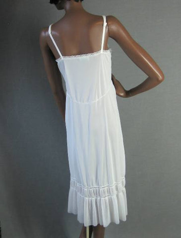 50s 60s Vintage White Nylon Slip Crystal Pleats Lace L Girly