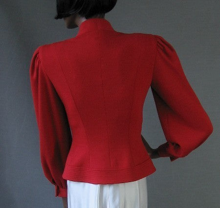 70s 80s Vintage Red Nipon Skirt Suit Nip Waist Jacket S