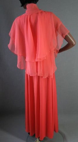 70s Empire Dress Gown Vintage 30s Style Chiffon Cape S M
